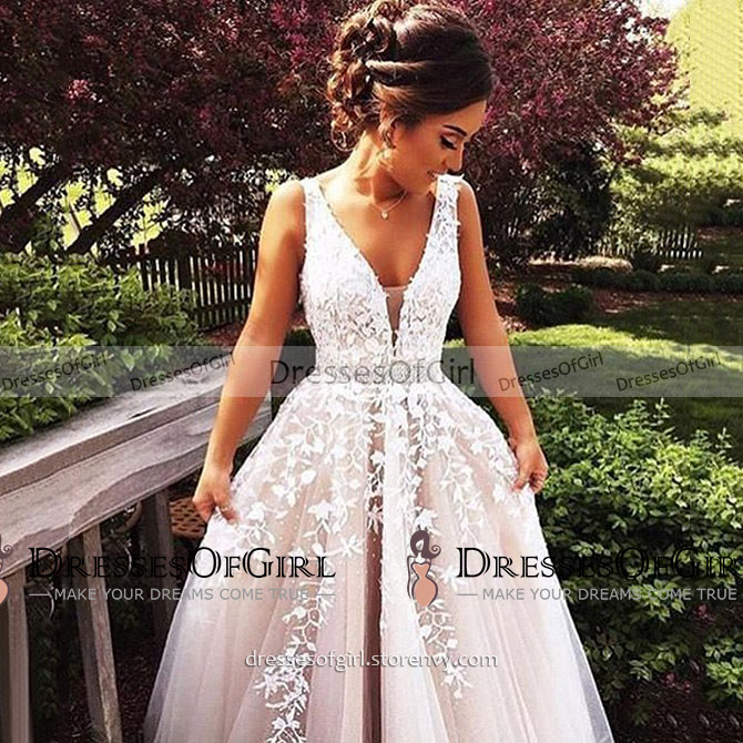 7a5d1992a9c Sexy deep v neck a line long prom dress princess beaded lace appliques gray  prom dress