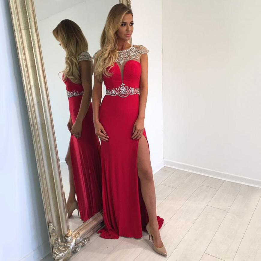 05ba1437287b Jewel Neck Illusion Beaded Tulle Long Prom Dress