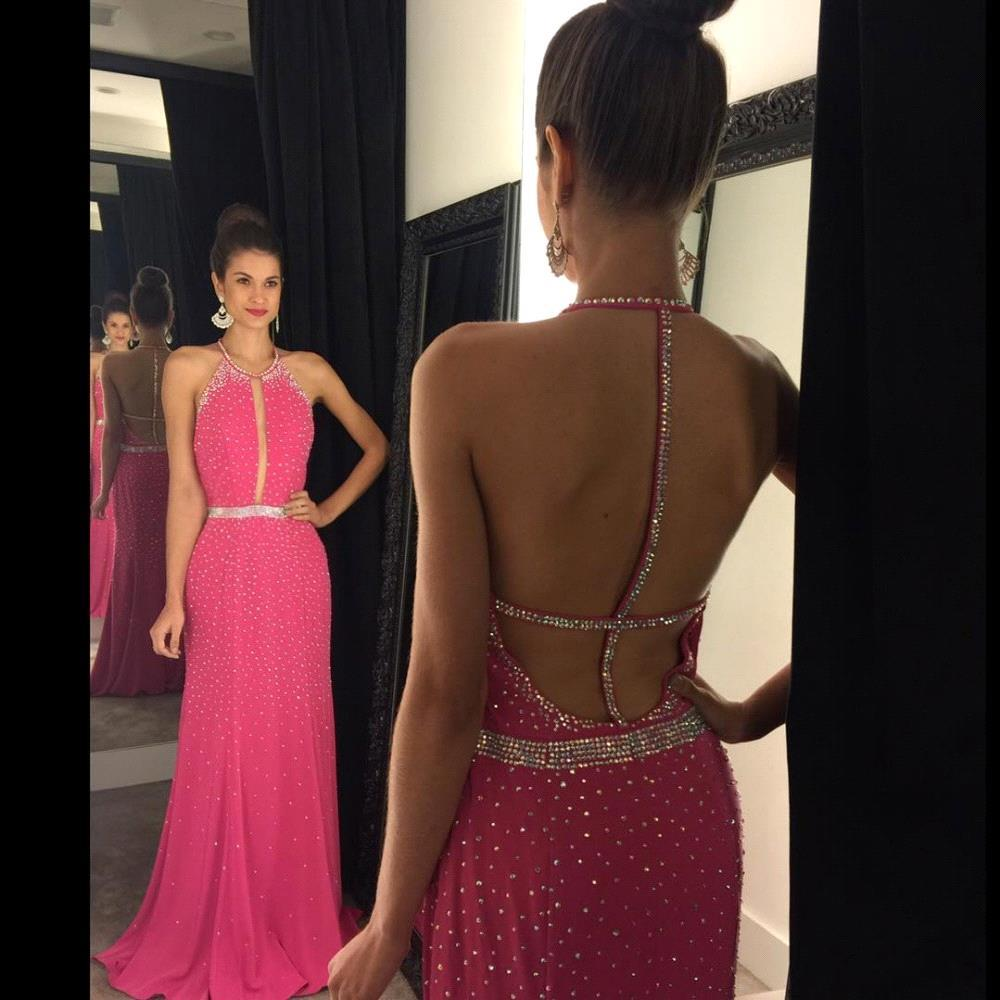 6e87eb8e4ca3 Polka Dot Pink Halter Column Prom Dress