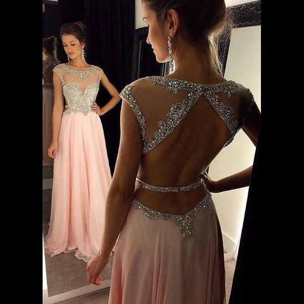 74c2527ffad Bateau Neck Cap Sleeves Long Prom Dress