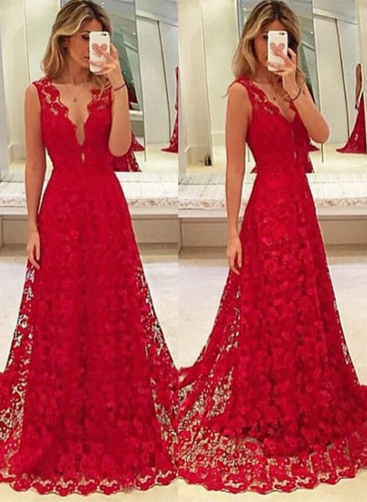 2017 beautiful prom dresses,long prom dress,lace Prom Dress red ...