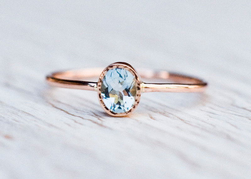 Aquamarine Engagement Ring In 14k Rose Gold Gold Aquamarine Ring March Birthstone Unique Engagement Handmade Arpelc Jewelry Online Store Powered By Storenvy