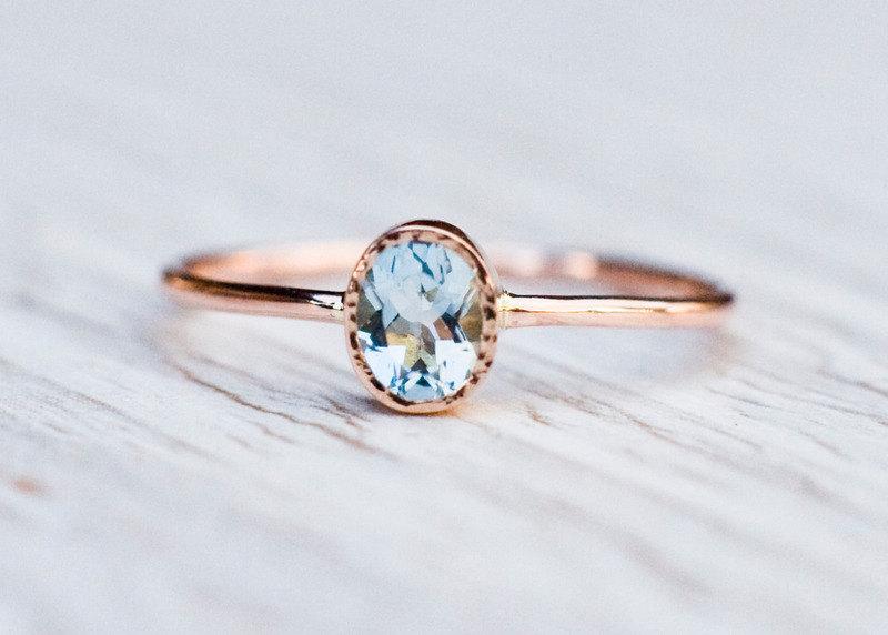 Fabulous Aquamarine engagement ring in 14k Rose Gold, Gold Aquamarine Ring  BQ08