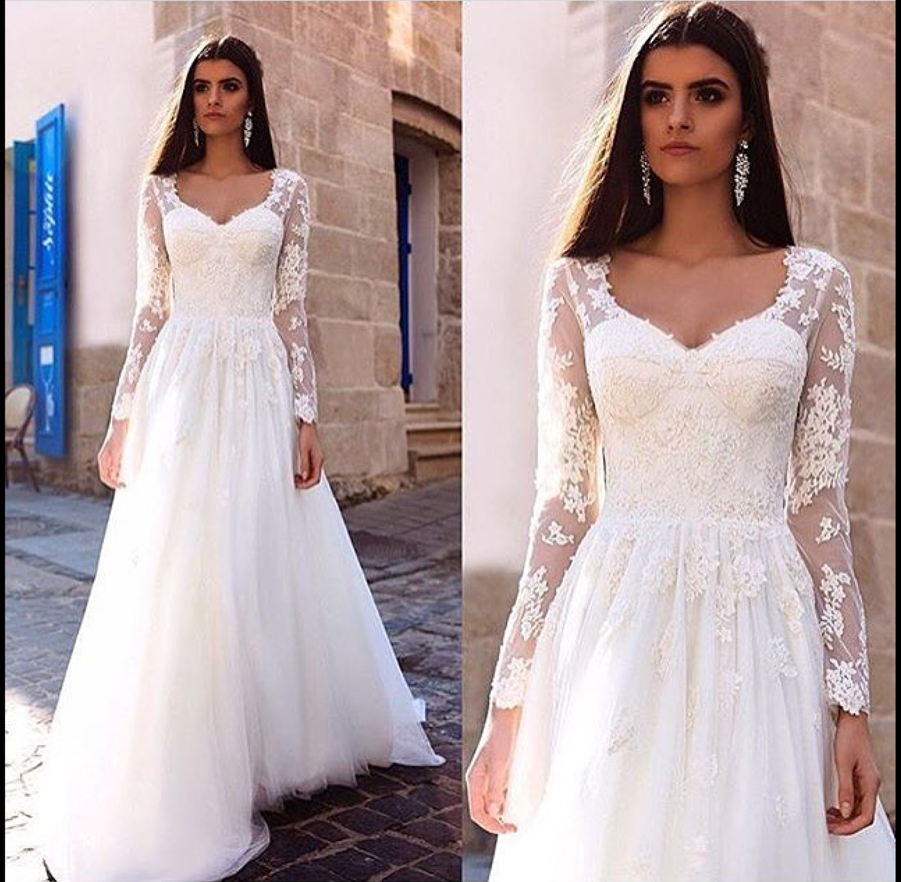 Long Sleeve Lace Wedding Dress Lace Ball Gown Vintage