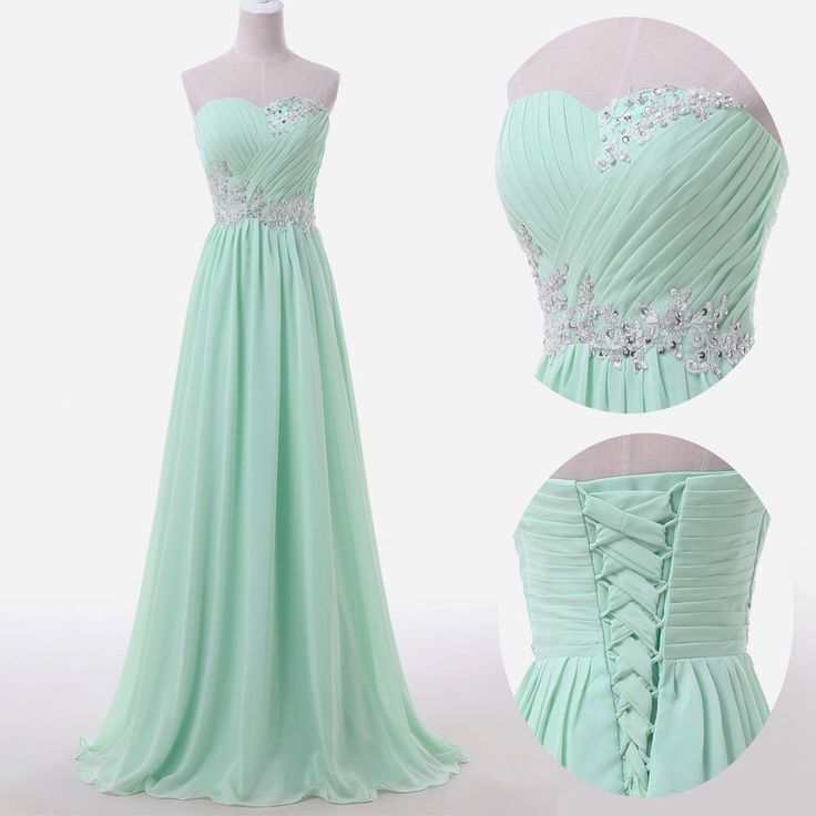 Long Chiffon Prom Dresses,Mint Green