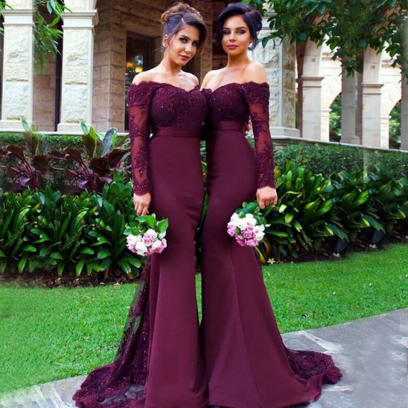 0431d7b44d7 Mermaid Off-The-Shoulder Long Sleeves Burgundy Long Bridesmaid Dress With  Lace on Storenvy