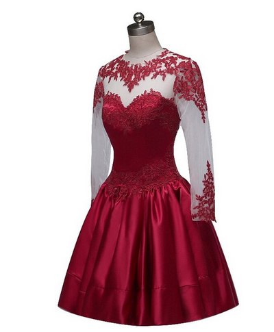 Burgundy Short Prom Dress Ball Gown High Neckline With Long Sleeves