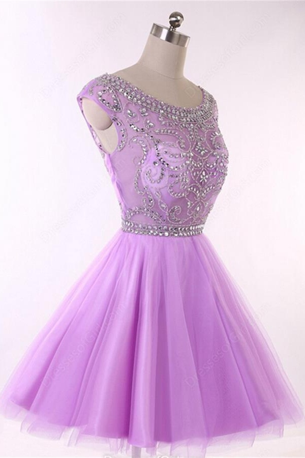 Light Purple Short Sleeve Short Prom Dresses