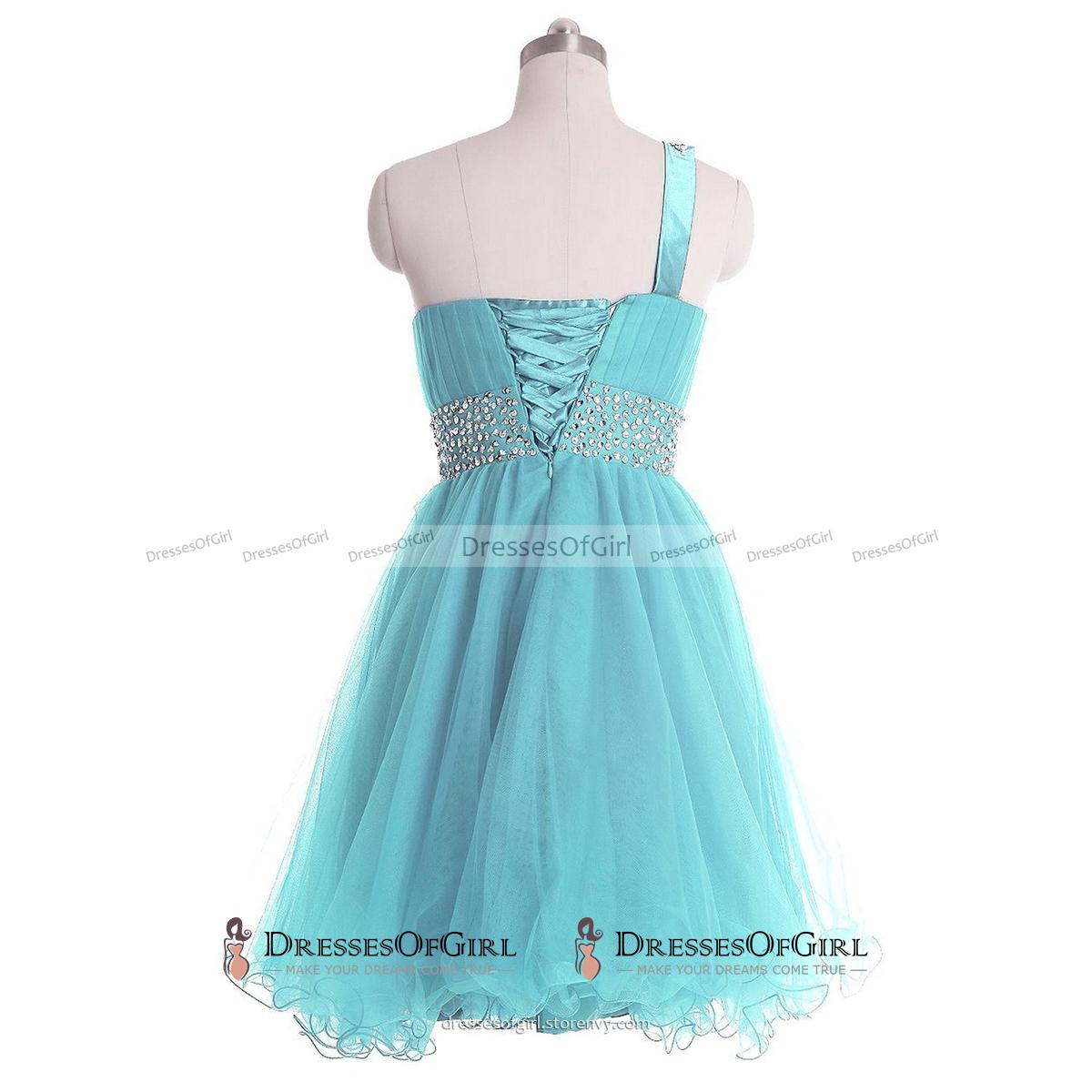 Trendy One Shoulder Short Prom Dress, Sequins Belt Lace-up Light ...