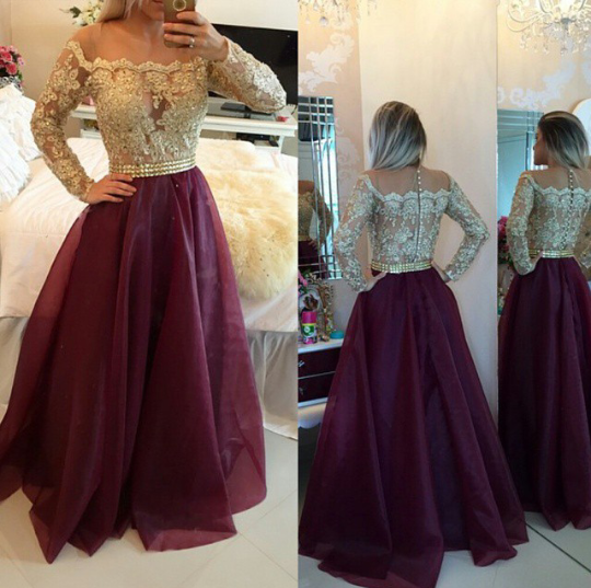14aa2843e62 Gorgeous burgundy organza long sleeve lace prom dress