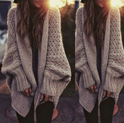 Fashion New Womens Oversized Loose Long Sleeve Knitted Sweater ... 73389f442