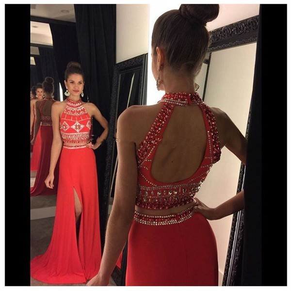 29daa8ec9bd8 2 Pieces Beading Long Prom Dress Wedding Party Dresses · Promtailor ...