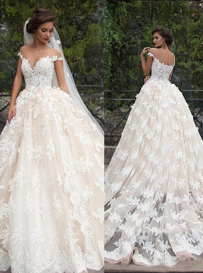 Glamorous Jewel Cap Sleeves Court Train Wedding Dress With Lace Top