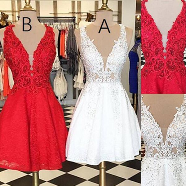 274acd4f0c2 V-neck Sleeveless White Lace Short Homecoming Dress Beaded on Storenvy