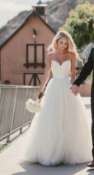 wedding dresses Spaghetti Straps Sweetheart Neck Tulle Sleeveless ...