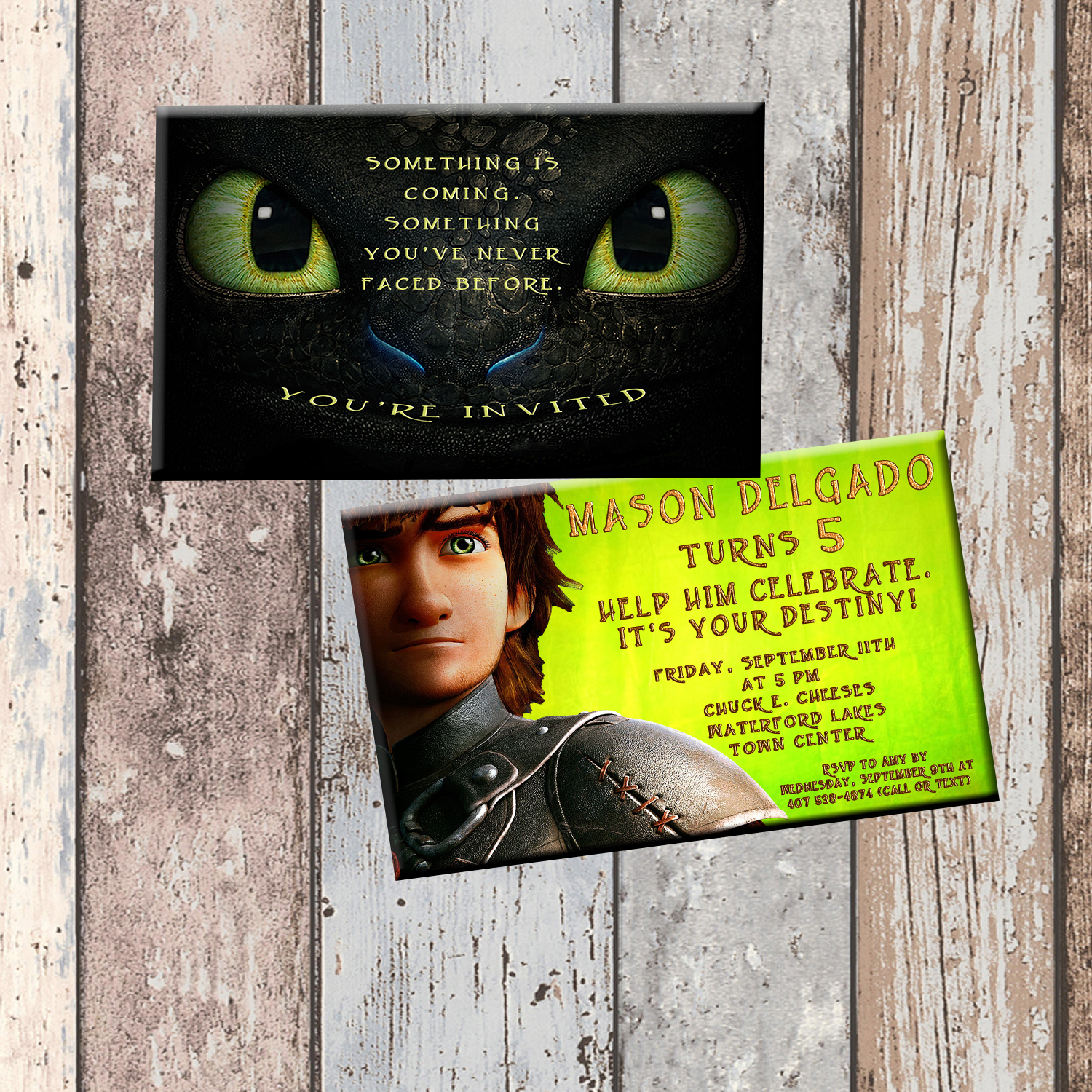 Toothless Dragon Personalized Birthday Invitation 2 Sided Card Party
