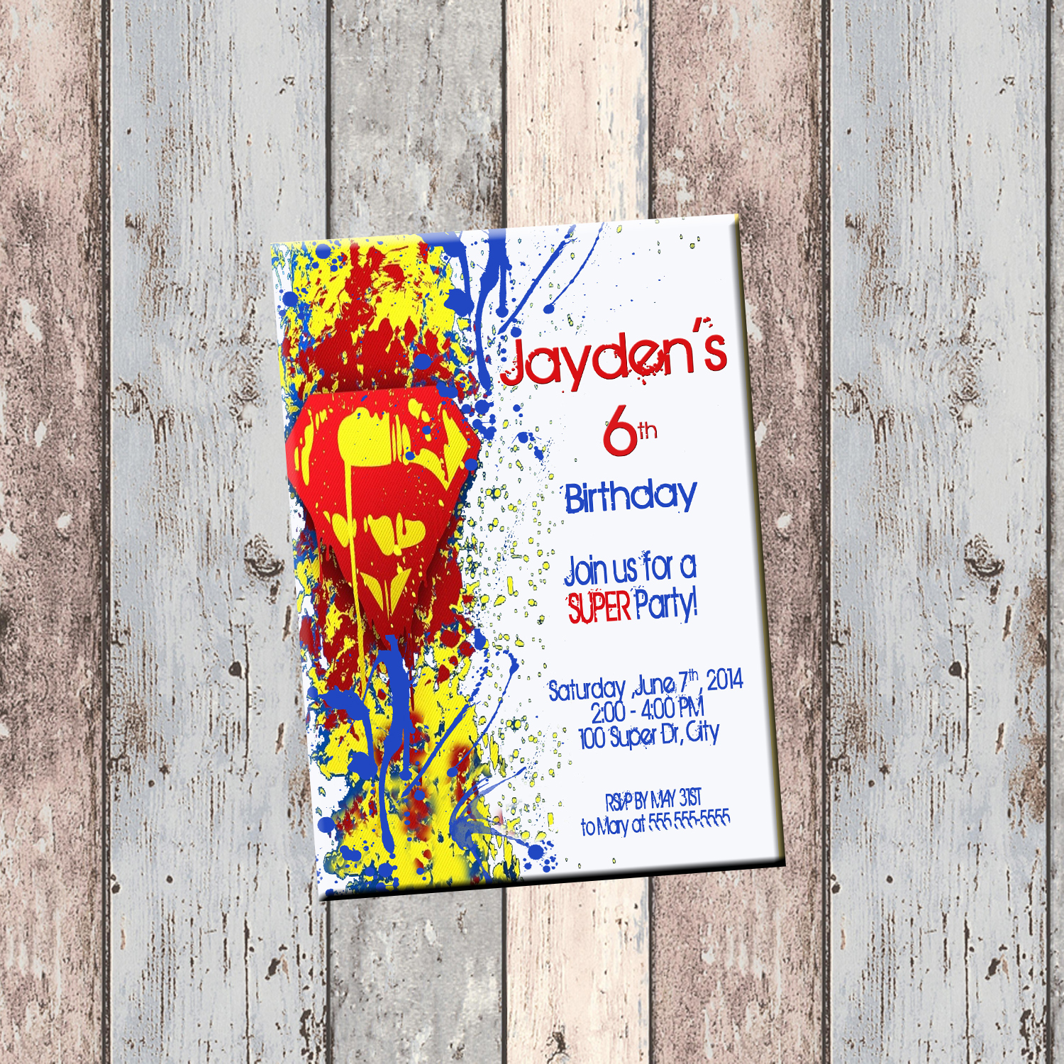 Superman Superhero Personalized Birthday Invitation 1 Sided Card Party