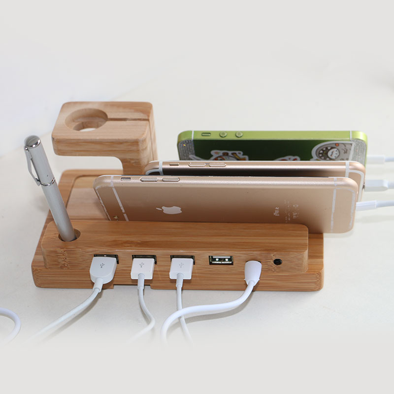 0d0acdcde307 Bamboo For Apple Phone Charger Dock Station Holder Charging Stand