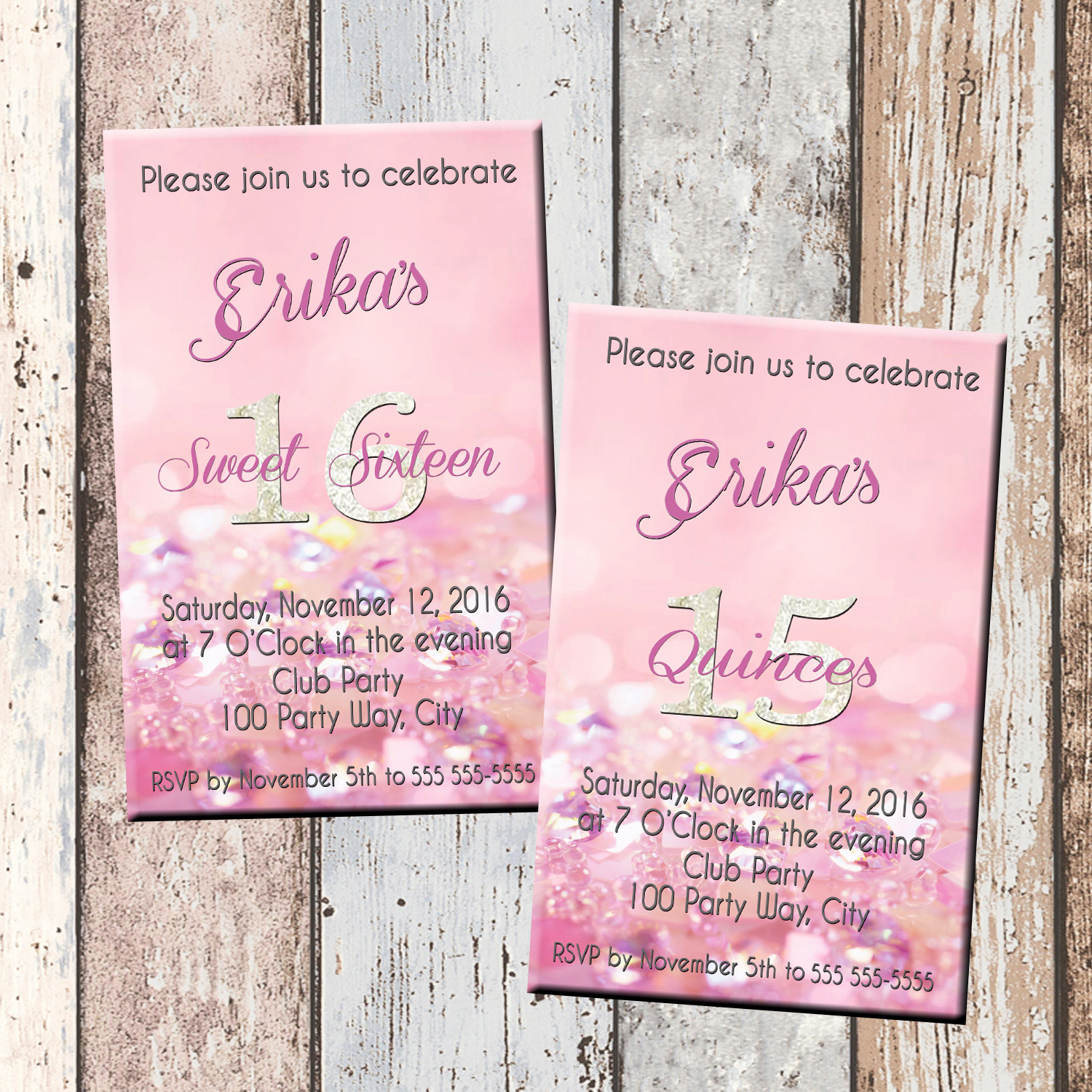 Pink Bling Quinceanera Or Sweet 16 Personalized Birthday Invitation 1 Sided Card Party
