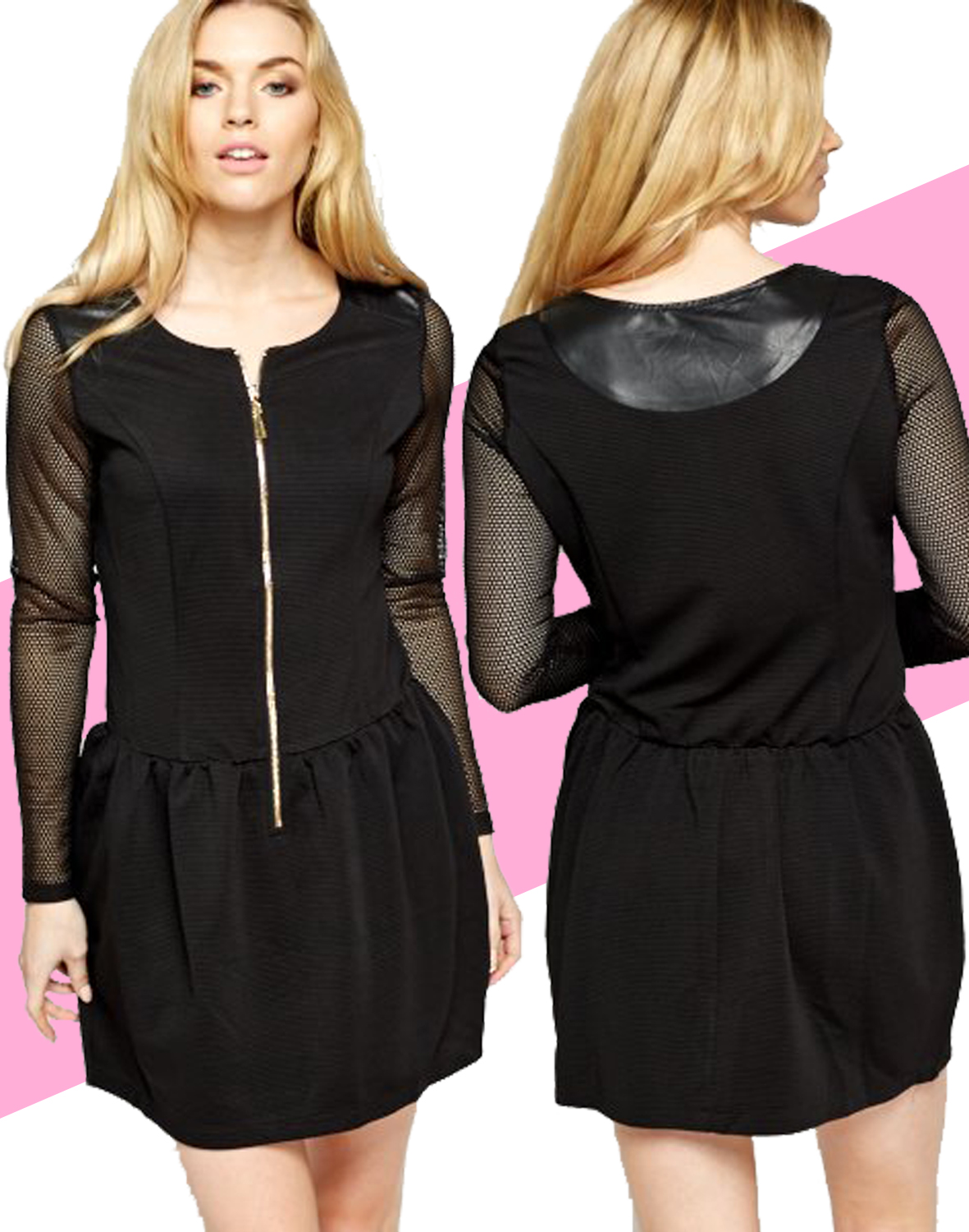 e8b416f348304 Perforated Sleeve Black Skater Dress S,M,L ♡ FREE Worldwide Shipping ♡