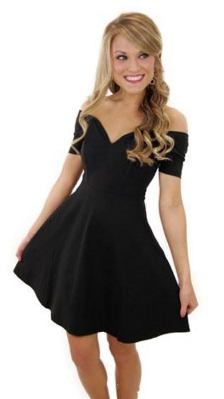 Chiffon Homecoming Dress, V Neck Off Shoulder Short Sleeves Black ...