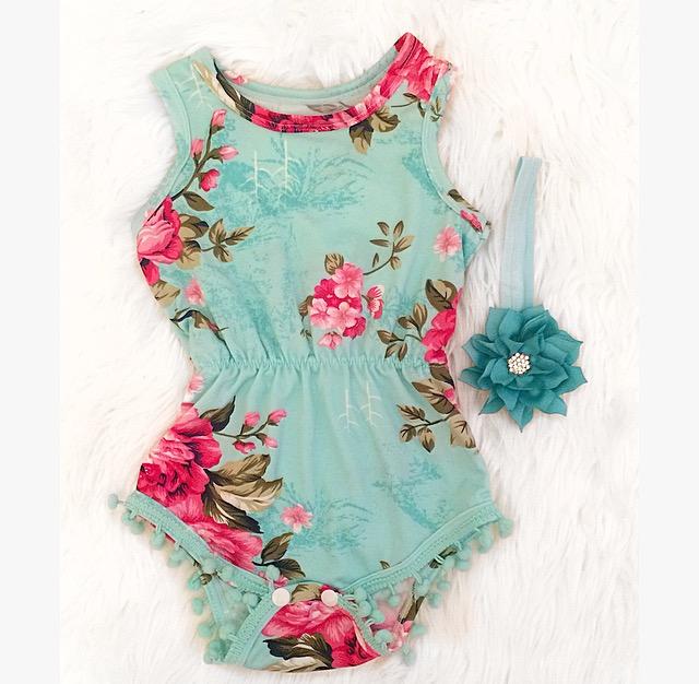 f1c8e886b9c65 Teal Floral Pom Pom Romper · Kissable Baby Boutique · Online Store ...