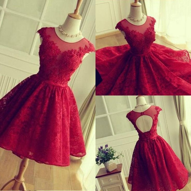 bf4470a639c Charming red lace short prom dress