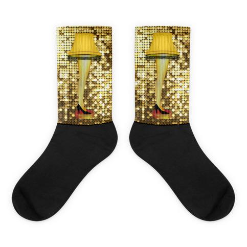 Christmas Gold Leg Lamp Black Foot Socks 183 Ugly Christmas