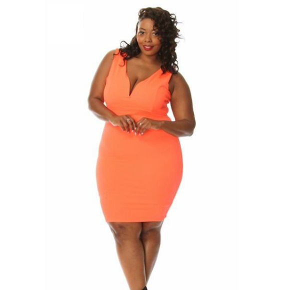 Plus Size Sleeveless Bodycon Midi Dress Neon Orange from Head2Toez Apparel