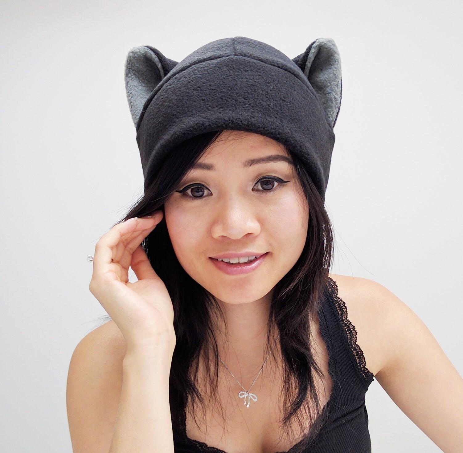 9aa54865b98 ... Black Cat Ear Hat - Cat Hat - Cat Fleece Hat - Black Beanie Cat Hat ...