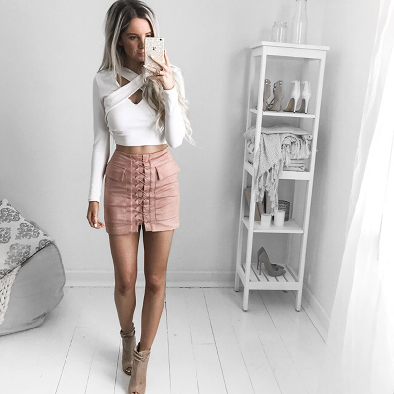 cf7b50bc92 ... Lace Up Suede Skirt - Thumbnail 3 ...