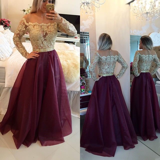 a7d6e71b30 2017 Burgundy Long Sleeve Button Back Prom Dress With Lace on Storenvy