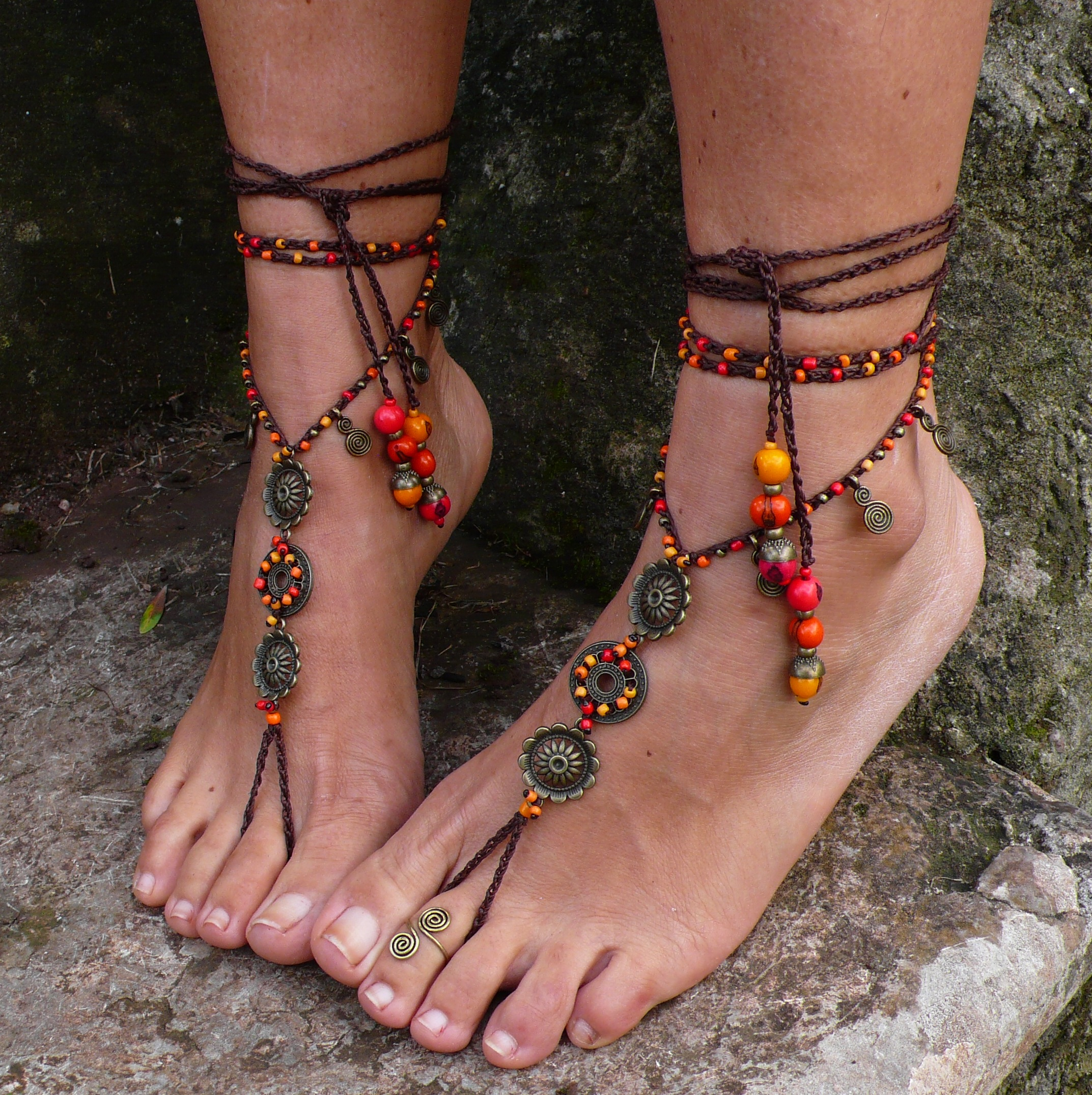 29b3e1977 FIRE MANDALA barefoot SANDALS-Hippie Foot Jewelry-Beach Wedding Sandals-Yoga  Accessories on Storenvy