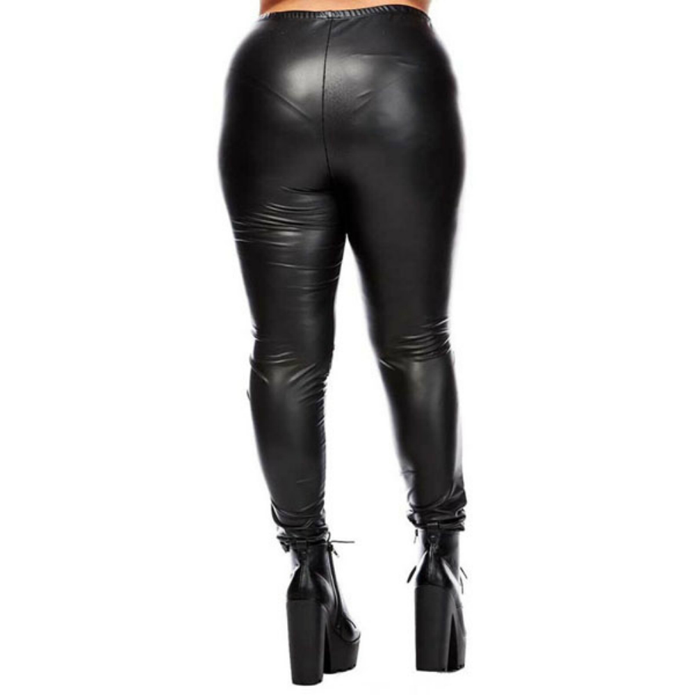 7645e9cb015 Plus Size Slitted Knee Faux Leather Leggings on Storenvy