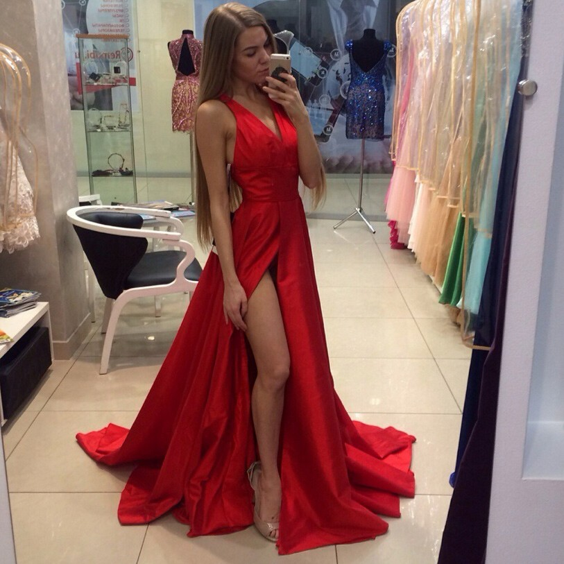 8fa9e11bf386 Simple A-Line V-Neck Sleeveless Split Front Red Long Prom Dress on ...