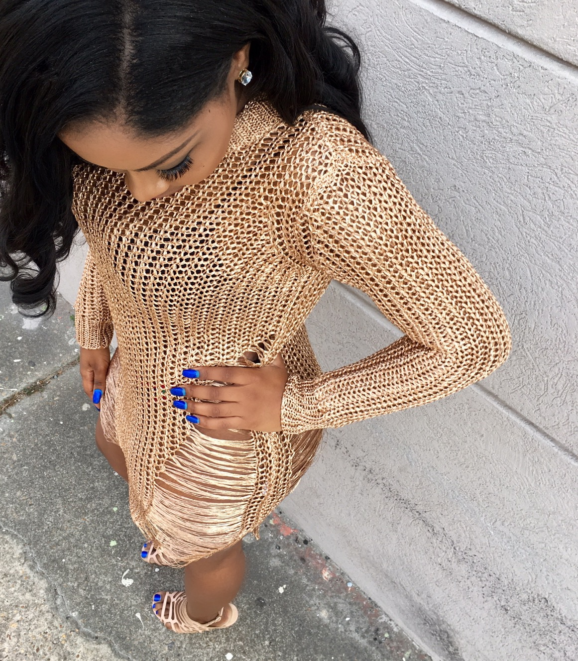 84c7a20b471b Rose Gold Distressed Sweater · Meow and Barks Boutique · Online ...