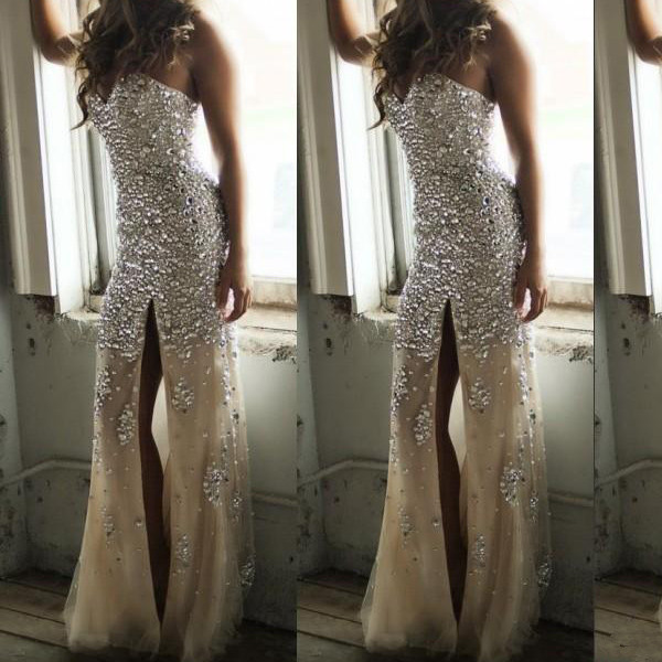 1b40c41e056 Sweetheart Neck Champagne with Crystals Sparkly Slit Mermaid Prom Dresses  Long Evening Dress