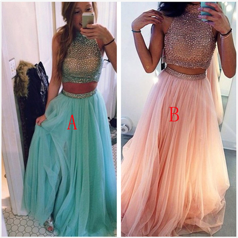Two Pieces Prom Dresses Ball Gown High Neck With