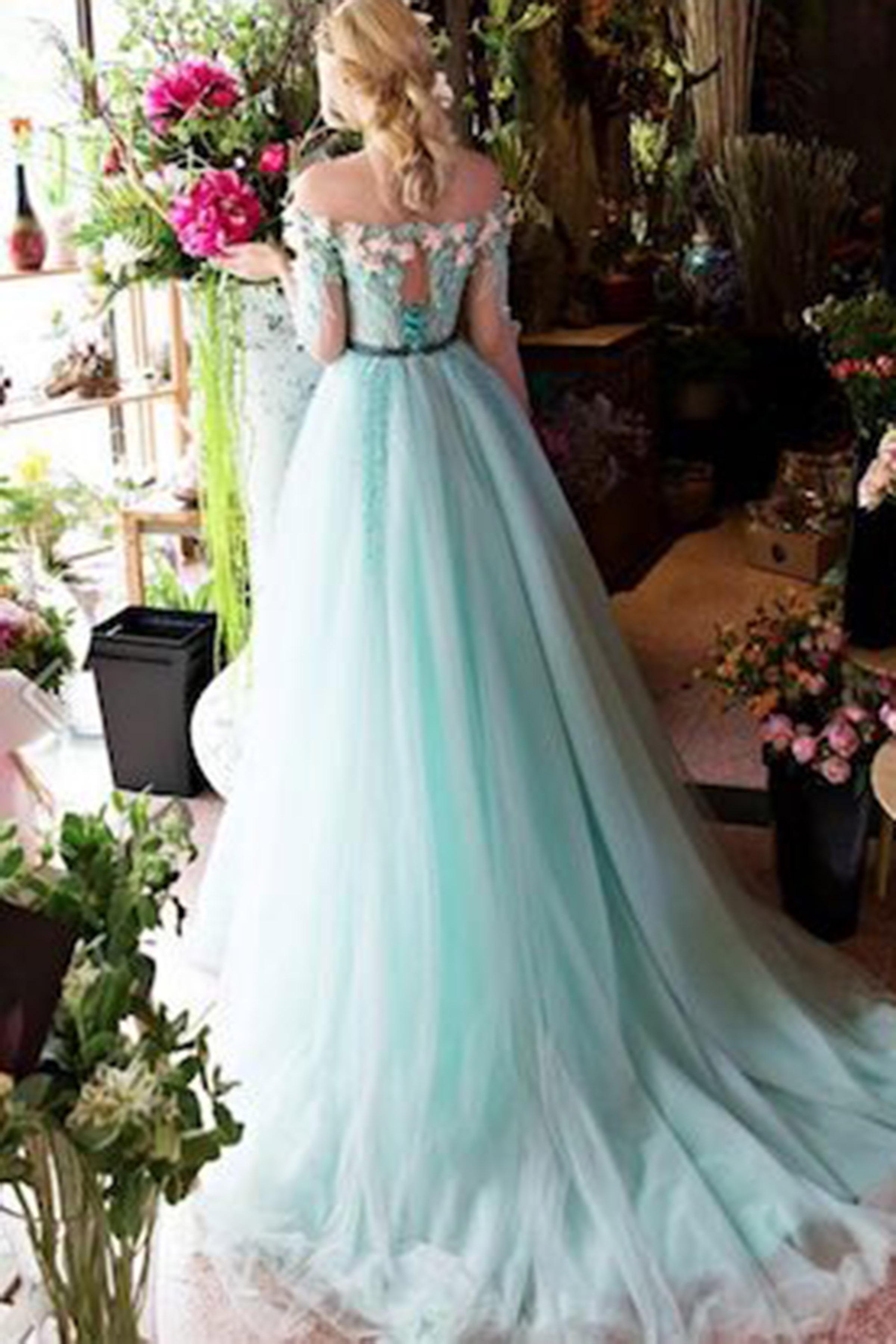 Mint organza off-shoulder short sleeves handmade flower long prom ...