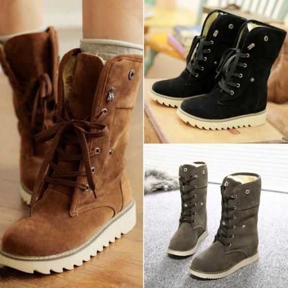 1e3c73c810366 Fashion Women Winter Warm Lace Up Flat Heel Ankle Snow Boot Fleece ...