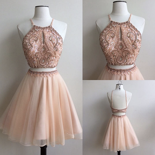 Charming A-line two pieces beading short prom dress,pink homecoming ...