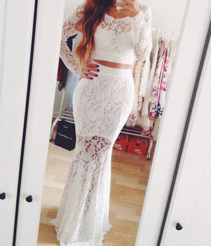New 2 Pieces Mermaid Scoop Long Sleeve Lace White Prom