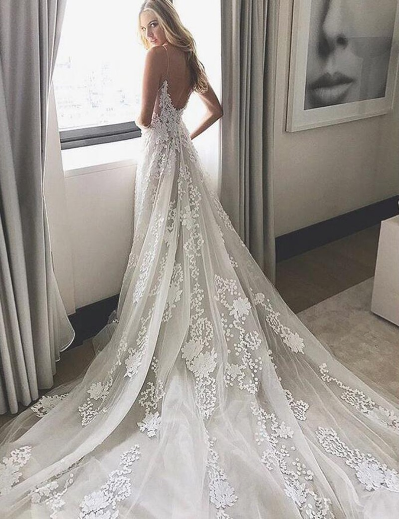 2017 Wedding Dress, White Lace Long Wedding Dress, Bridal