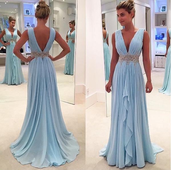 e46ca92e37 New arrival Light Blue Chiffon Prom Dresses Deep V Neck Off the Shoulder  Evening Gowns