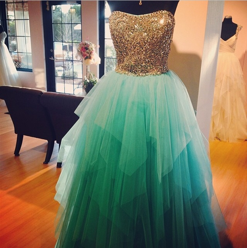 a979a22401 Turquoise Prom Dress Ball Gown Strapless Neckline With Gold Bead Bodice  Tulle Long Evening Dresses Sweet
