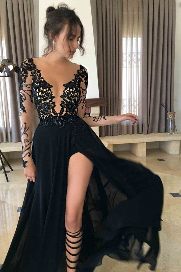 long prom dress, black prom dress, long sleeves prom dress, deep v ...