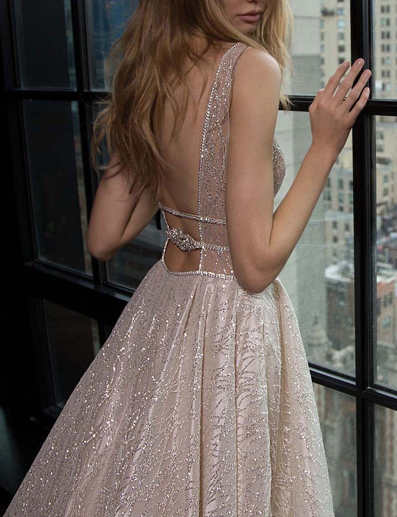 ca89898a7c ... Sexy Deep V-neck Sleeveless Court Train Prom Dress Backless with  Sequins - Thumbnail 2 ...