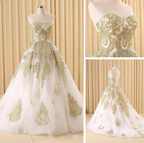 White and gold lace ball gown,A-line sweetheart long prom dress ...