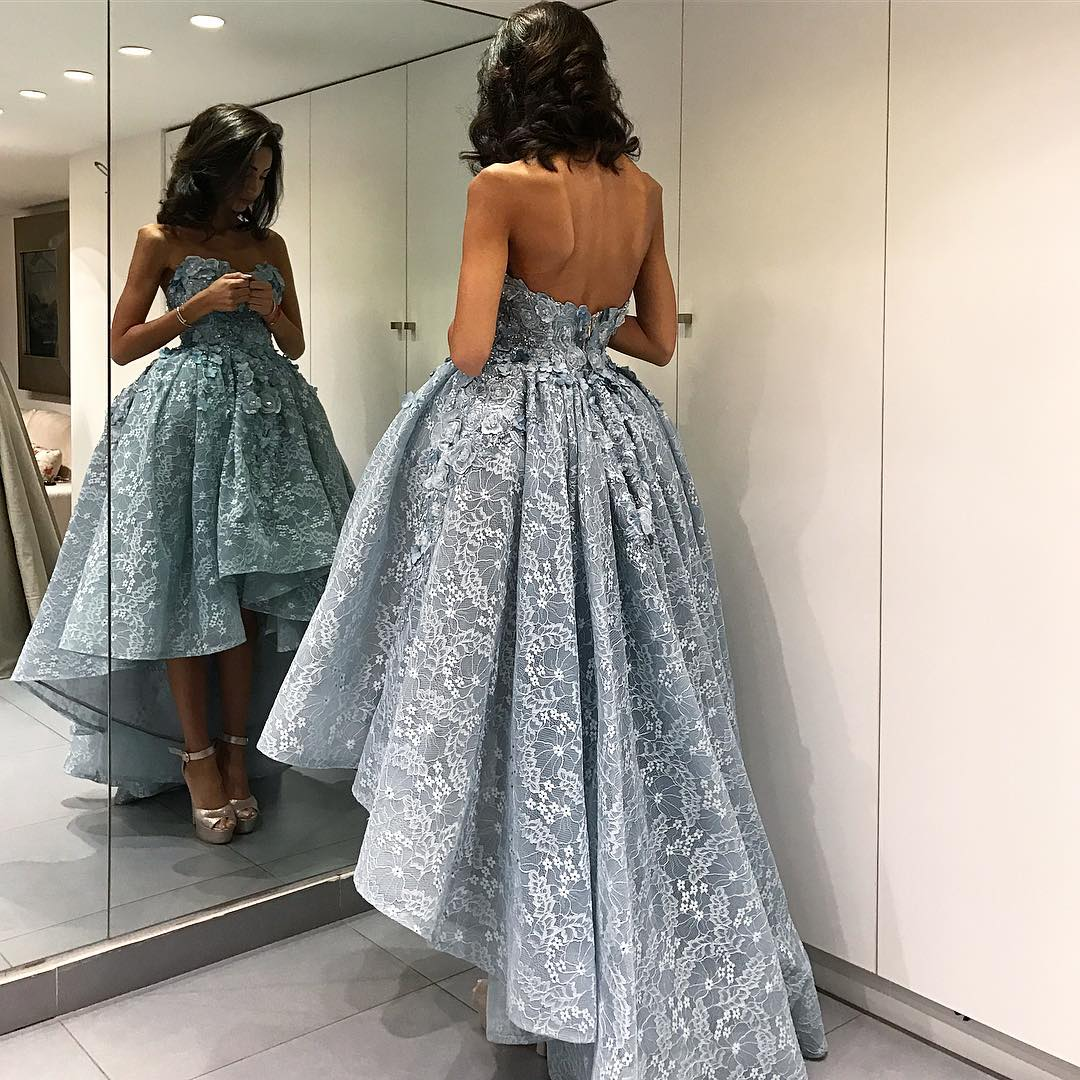 Backless lace prom dresses exclusive photo