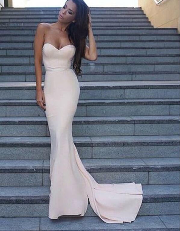 Simple Mermaid Light Pink Evening Prom Dresses, 2017 Long Party Prom ...